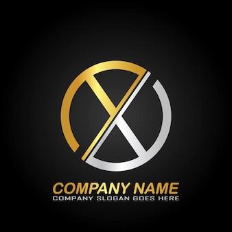 Design de logotipo de letra única com cor dourada e prateada