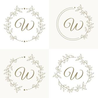 Design de logotipo de letra w de luxo com modelo de fundo de moldura floral