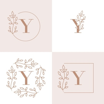 Design de logotipo de letra y de luxo com modelo de fundo de moldura floral