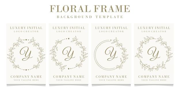 Design de logotipo de letra y de luxo com modelo de fundo de quadro floral