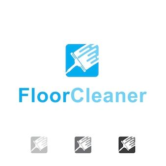 Design de logotipo de limpador de chão