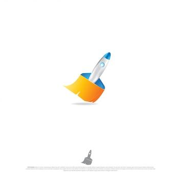 Design de logotipo de limpador de foguete