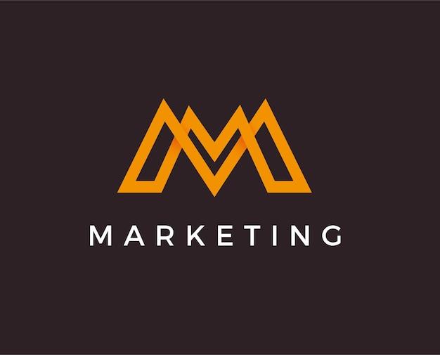 Design de logotipo de linha da letra m. monocromático mínimo criativo linear