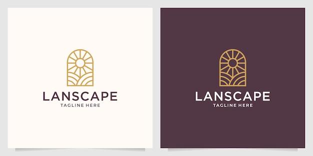 Design de logotipo de linha de arte de beleza de paisagem