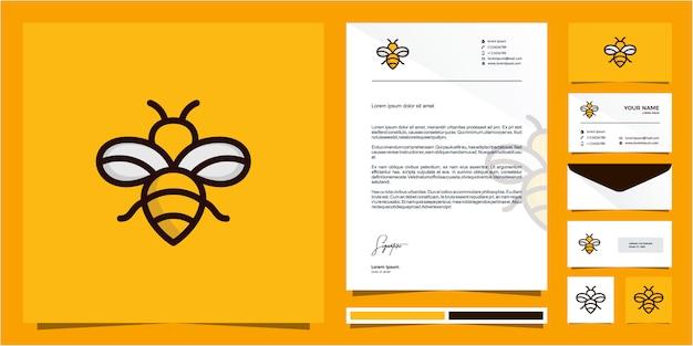 Design de logotipo de linha de contorno de abelha monoline