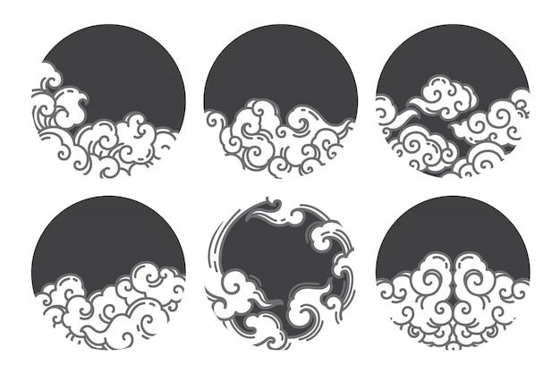 Design de logotipo de linha de nuvem chinesa