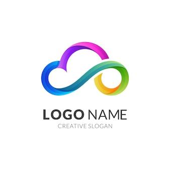 Design de logotipo de linha de nuvem com estilo 3d colorido, ícones de sonho