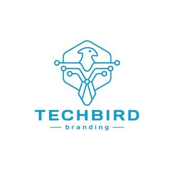 Design de logotipo de linha de pássaro de tecnologia