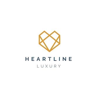 Design de logotipo de linha do coração