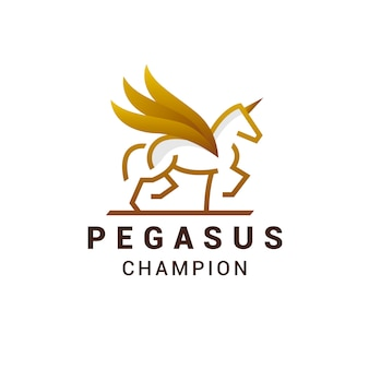 Design de logotipo de linha dourada pegasus