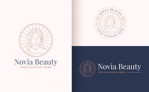 Design de logotipo de linha floral mulheres arte