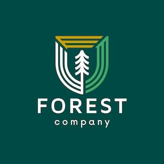 Design de logotipo de linha limpa de escudo de árvore