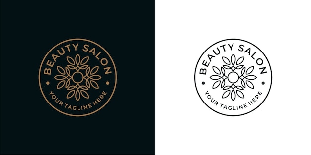 Design de logotipo de linha vintage de salão de beleza