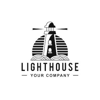 Design de logotipo de linhas pretas de farol