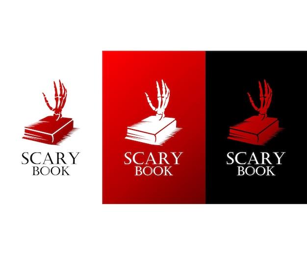 Design de logotipo de livro assustador