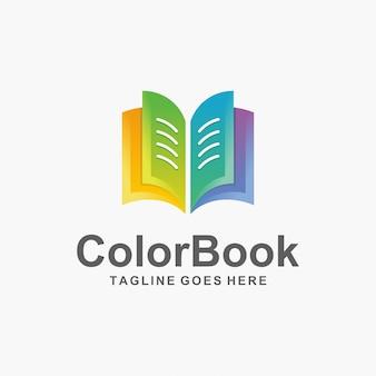 Design de logotipo de livro colorido