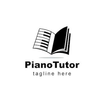 Design de logotipo de livro de aulas de piano