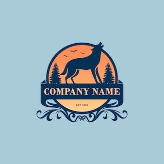 Design de logotipo de lobo vintage