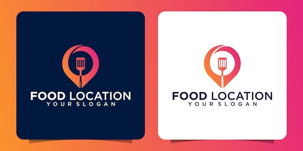 Design de logotipo de local de alimentos, com um ícone de alfinete combinado com uma espátula