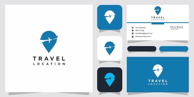 Design de logotipo de local de viagens e cartão de visita