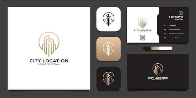 Design de logotipo de localização da cidade com vetor premium de linha e cartão de visita