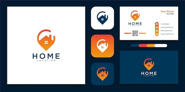 Design de logotipo de localização de casa moderna e cartão de visita premium vecto Vetor Premium