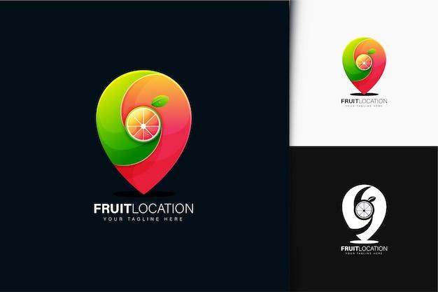 Design de logotipo de localização de frutas com gradiente