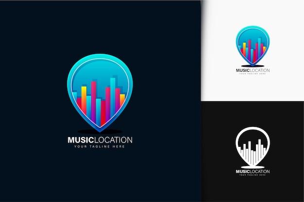 Design de logotipo de localização de música gradiente colorido Vetor Premium