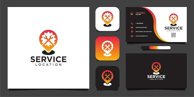Design de logotipo de localização de serviço e cartão de visita