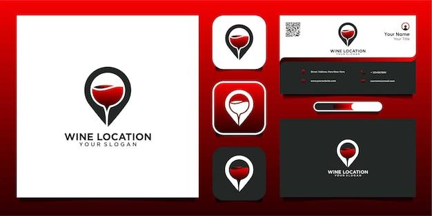 Design de logotipo de localização de vinho e vetor premium de cartão de visita