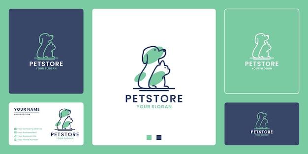 Design de logotipo de loja de animais. combinação de cachorro e gato
