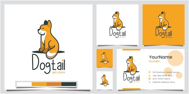 Design de logotipo de loja de animais de cauda de cão com cartão