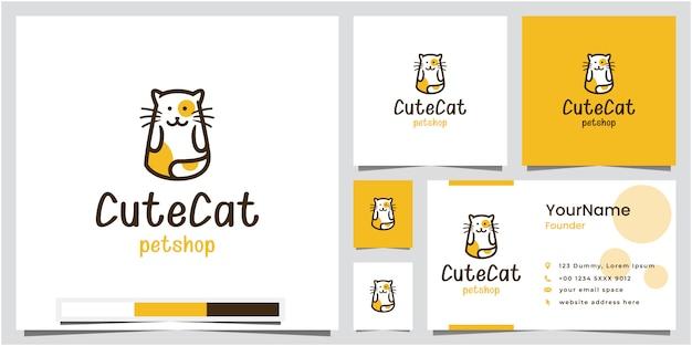 Design de logotipo de loja de animais de estimação gato bonito com cartão