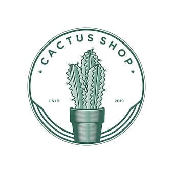 Design de logotipo de loja de cactos. plantar
