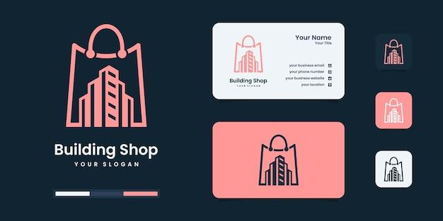 Design de logotipo de loja de edifício elegante. os imóveis sejam aproveitados pela sua empresa.