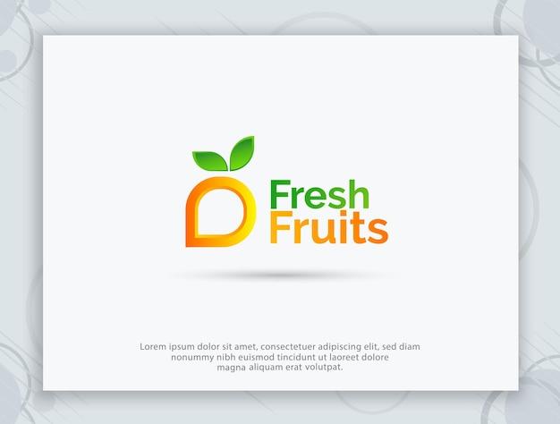 Design de logotipo de loja de frutas e logotipo de carta