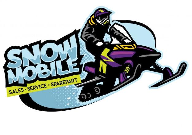 Design de logotipo de loja de moto de neve