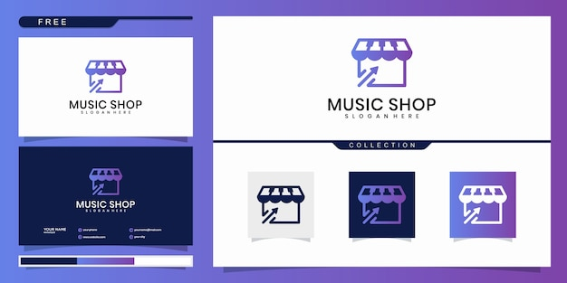 Design de logotipo de loja de música. design de logotipo e cartão de visita