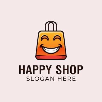 Design de logotipo de loja feliz, comércio eletrônico, loja online