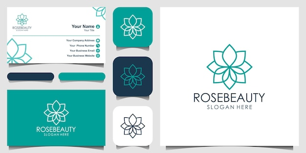 Design de logotipo de lótus centro de ioga spa salão de beleza ícone de design de logotipo de luxo e cartão de visita