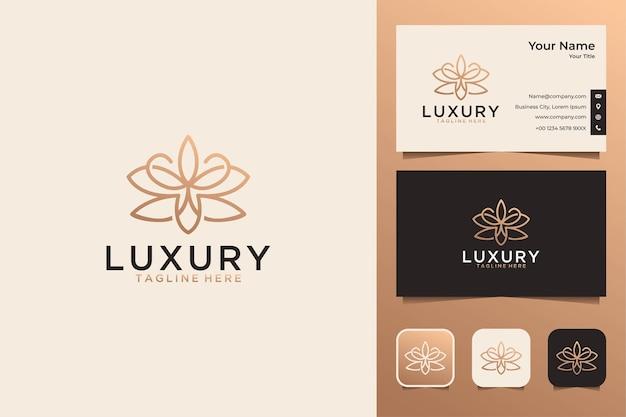 Design de logotipo de lótus de luxo e cartão de visita