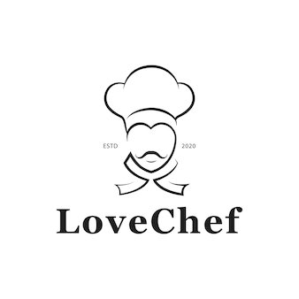 Design de logotipo de love chef restaurant