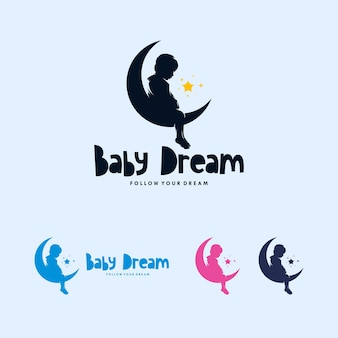 Design de logotipo de lua colorida e bebê sonhando