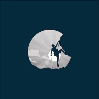 Design de logotipo de lua de escalada