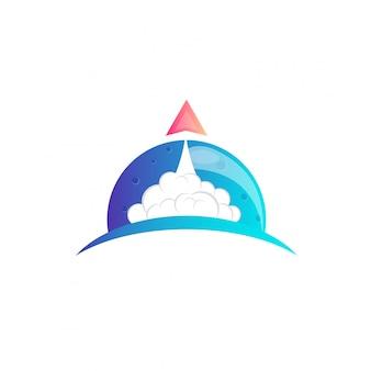 Design de logotipo de lua de foguete