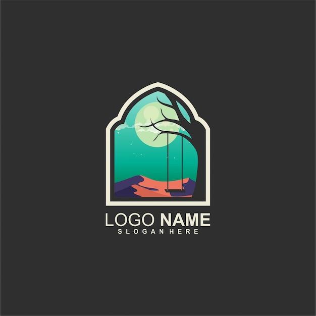 Design de logotipo de lua e árvore