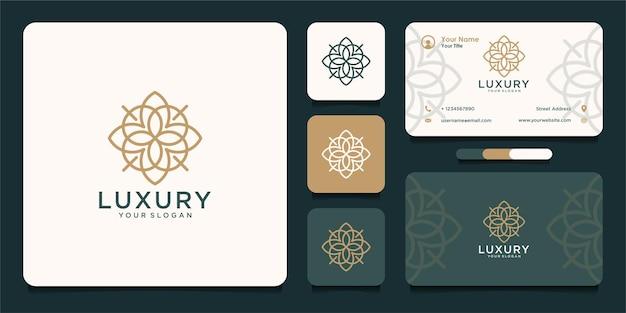 Design de logotipo de luxo com flor e cartão de visita