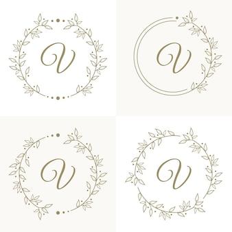 Design de logotipo de luxo com letra v com modelo de fundo de moldura floral