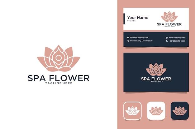 Design de logotipo de luxo de flores de spa e cartão de visita