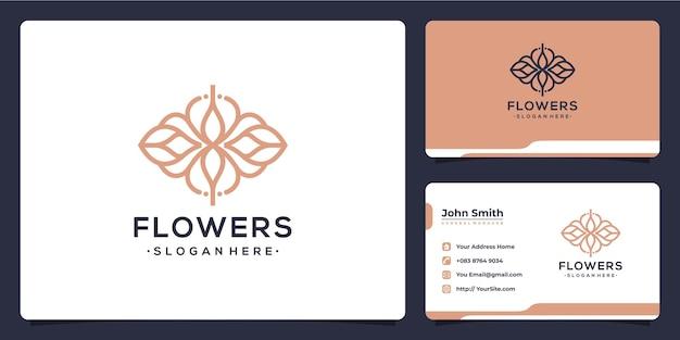 Design de logotipo de luxo de flores monoline e cartão de visita